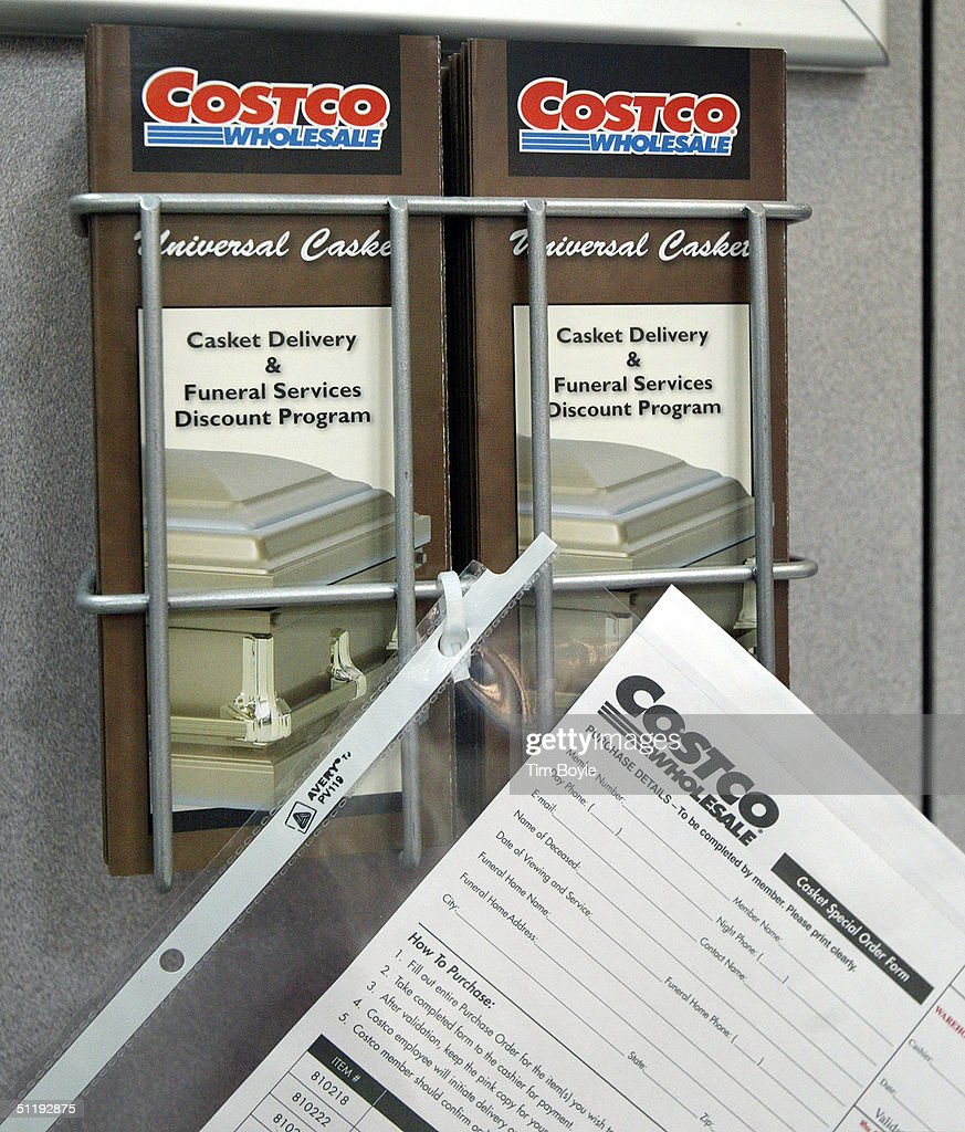 Costco begins selling caskets photos and images getty images casket delivery and funeral services discount program information and order forms hang in a casket sample izmirmasajfo Images