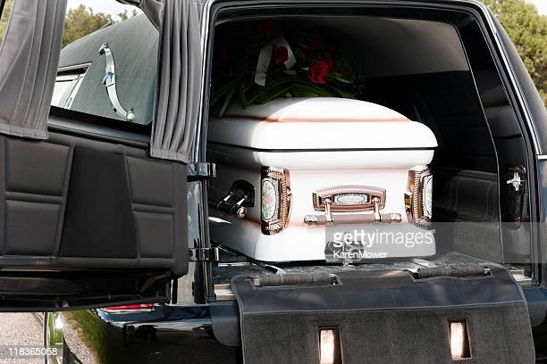 casket in hearse - hearse stock photos and pictures