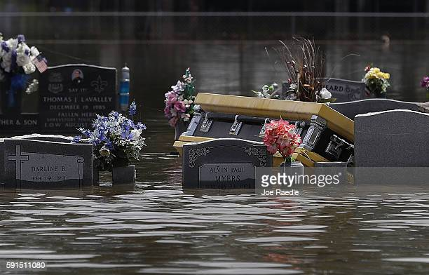 A casket is seen in a flooded cemetery on August 17 2016 in Sorrento Louisiana Tremendous downpours has resulted in disastrous flooding responsible...