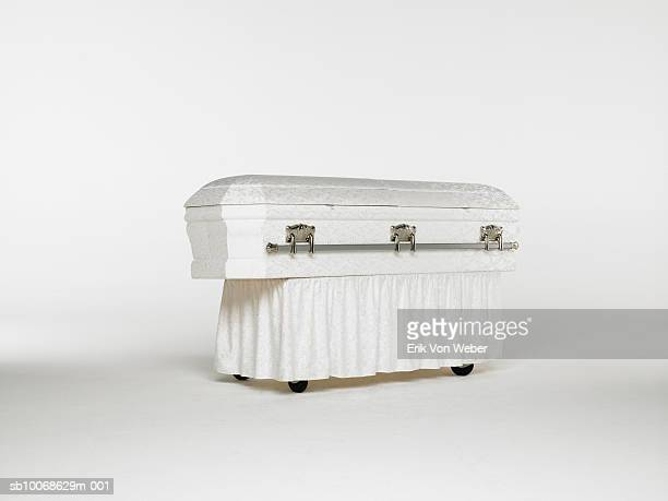 casket on white background - sarg stock-fotos und bilder