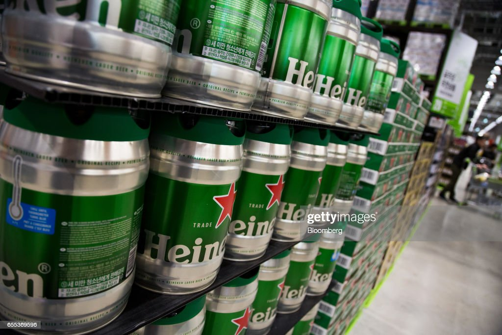 Casks of Heineken beer, manufactured by Heineken Holding NV, are displayed for sale at an E-Mart Inc. Traders store in the Starfield Hanam shopping complex, operated by Shinsegae Co., in Hanam, Gyeonggi, South Korea, on Wednesday, March 15, 2017. Photographer: SeongJoon Cho/Bloomberg via Getty Images
