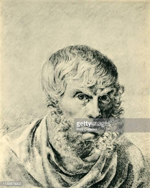 Caspar David Friedrich, circa 1810, . Self portrait of the German painter Caspar David Friedrich . Drawing in the Staatliche Museen, Berlin. From...