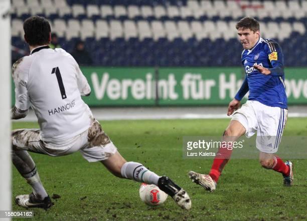 Caspar Johansen of Kiel scores his team's third goal during the Regionalliga Nord match between Hannover 96 II and Holstein Kiel at the AWD Arena on...