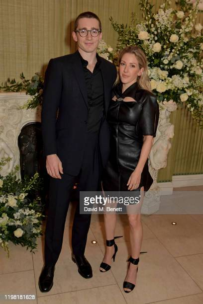 Caspar Jopling and Ellie Goulding attend the British Vogue and Tiffany & Co. Fashion and Film Party at Annabel's on February 2, 2020 in London,...