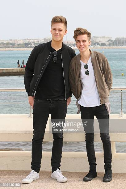 Caspar Lee and Joe Sugg attend Joe Capar Hit The Road photocall as part of MIPTV 2016 on April 5 2016 in Cannes France