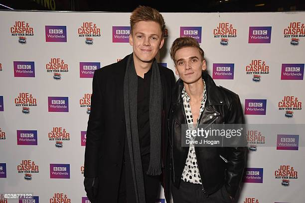 Caspar Lee and Joe Suggs attend the UK premiere of Joe And Caspar Lee Hit The Road USA at Cineworld Leicester Square on November 17 2016 in London...