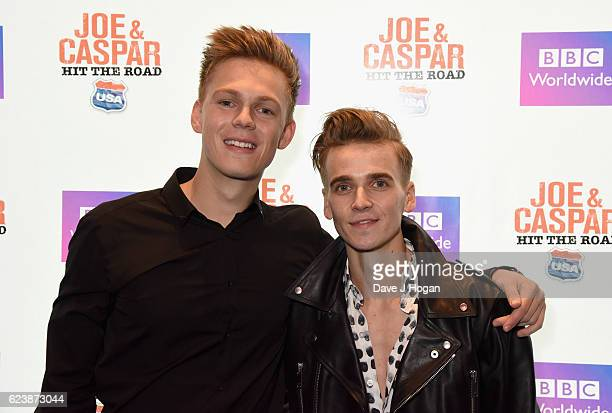 Caspar Lee and Joe Suggs attends the UK premiere of Joe And Caspar Lee Hit The Road USA at Cineworld Leicester Square on November 17 2016 in London...