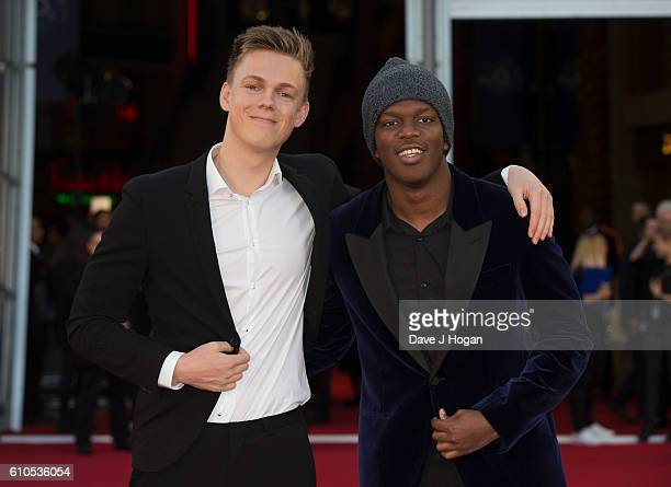 Caspar Lee and KSI attend the Laid In America World Premiere at Cineworld 02 Arena on September 26 2016 in London England