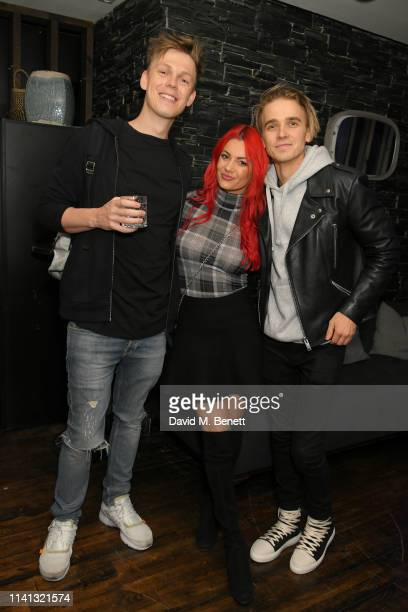 Caspar Lee, Dianne Buswell and Joe Sugg attend the launch of KSI's new album 'New Age' at Century Club on April 08, 2019 in London, England.