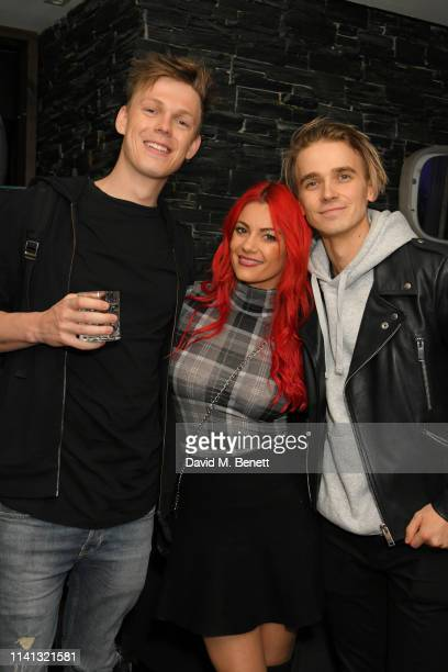 Caspar Lee Dianne Buswell and Joe Sugg attend the launch of KSI's new album 'New Age' at Century Club on April 08 2019 in London England