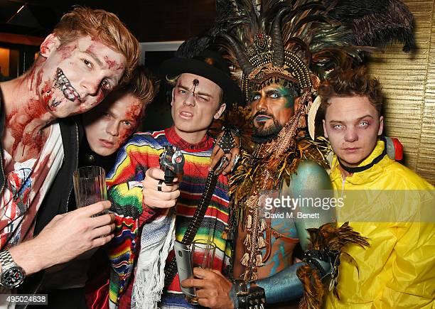 Caspar Lee Jack Maynard Azim Majid and Conor Maynard attend Hallowzeen at M Restaurant on October 30 2015 in London England