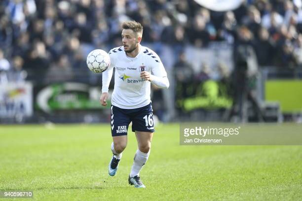 Casper Hojer Nielsen of AGF Aarhus controls the ball during the Danish Alka Superliga match between Hobro IK and AGF Aarhus at DS Arena on April 1...