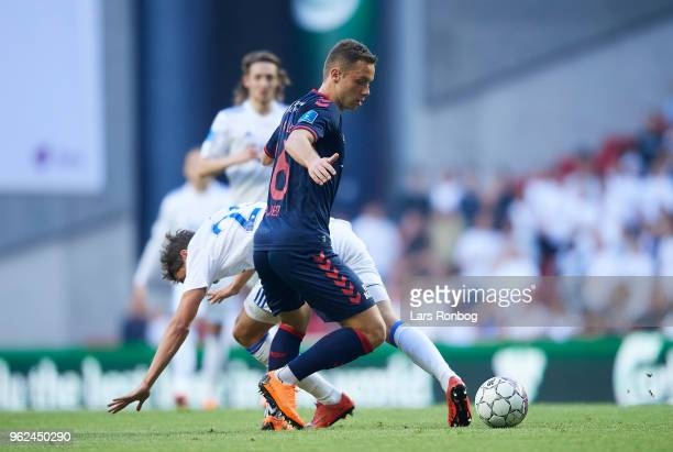 Casper Hojer Nielsen of AGF Aarhus in action during the Danish Alka Superliga Europa League Playoff match between FC Copenhagen and AGF Aarhus at...