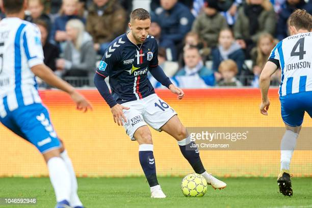Casper Hojer Nielsen of AGF Arhus controls the ball during the Danish Superliga match between OB Odense and AGF Arhus at Nature Energy Park on...