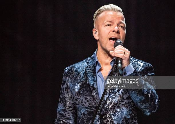Casper Janebring lead singer of the Swedish dansband Arvingarna participates in the fourth heat of Melodifestivalen Sweden's competition to select...