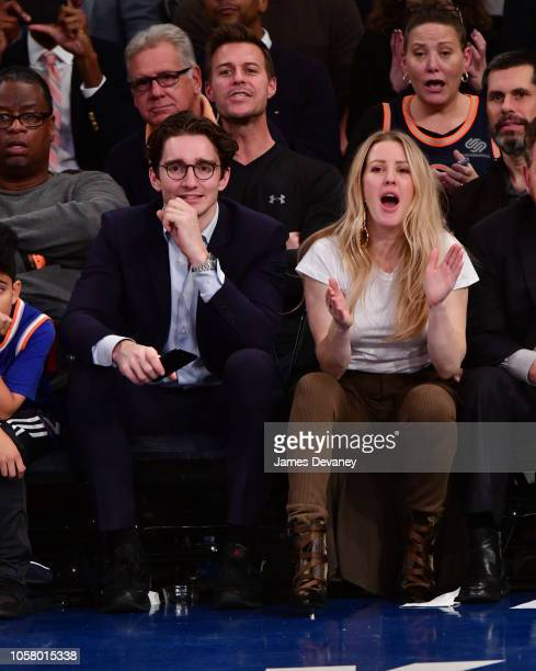 Casper Jopling and Ellie Goulding attend the Chicago Bulls vs New York Knicks game at Madison Square Garden on November 5 2018 in New York City
