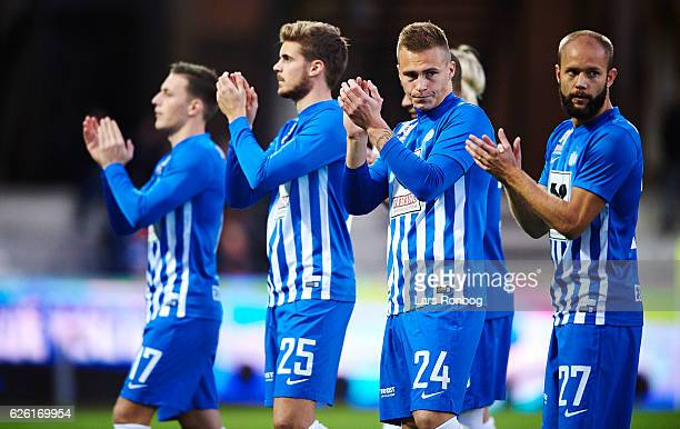 Casper Nielsen Jeppe Brinch Marco Lund and Robin Soder of Esbjerg fB applaud the fans prior to the Danish Alka Superliga match between Esbjerg fB and...