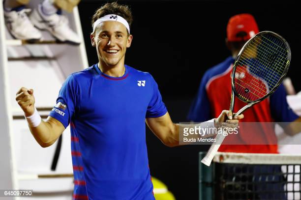 Casper Ruud of Norway celebrates a victory against Thiago Monteiro of Brazil during the quarter finals of the ATP Rio Open 2017 at Jockey Club...
