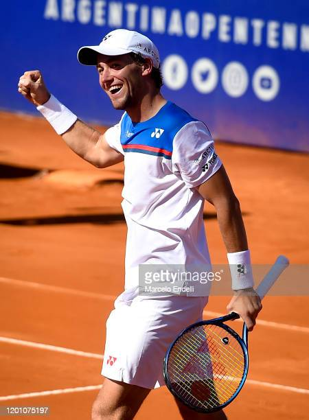 Casper Ruud of Norway celebrates after winning a semifinal match against Juan Ignacio Londero of Argentina during day 6 of ATP Buenos Aires Argentina...