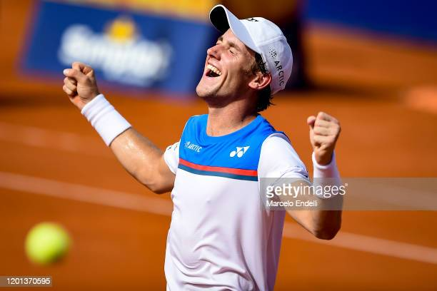 Casper Ruud of Norway celebrates after winning Men's Singles Final match against Pedro Sousa of Portugal as part of day 7 of ATP Buenos Aires...