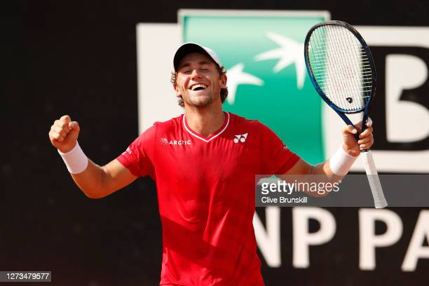 Casper Ruud of Norway celebrates match point in his quarter-final match against Matteo Berrettini of Italy during day six of the Internazionali BNL...