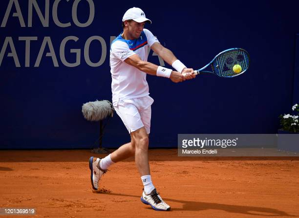 Casper Ruud of Norway hits a backhand during Men's Singles Final match against Pedro Sousa of Portugal as part of day 7 of ATP Buenos Aires Argentina...