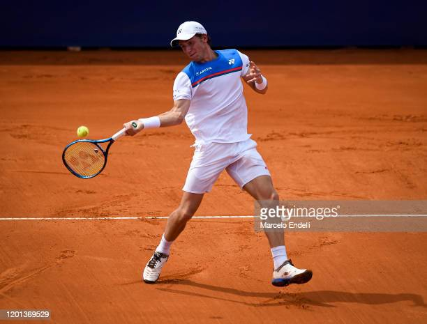 Casper Ruud of Norway hits a forehand during Men's Singles Final match against Pedro Sousa of Portugal as part of day 7 of ATP Buenos Aires Argentina...