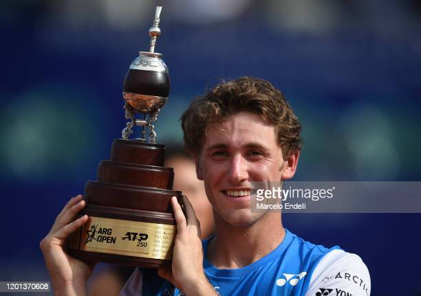 Casper Ruud of Norway lifts the trophy after winning Men's Singles Final match against Pedro Sousa of Portugal as part of day 7 of ATP Buenos Aires...