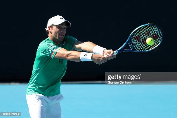 Casper Ruud of Norway plays a backhand in his match against Jiri Vesely of the Czech Republic during day three of the ATP 250 Murray River Open at...