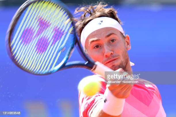 Casper Ruud of Norway plays a fore hand during his 2nd round match against Pablo Cuevas of Uruguay day 5 of the BMW Open at MTTC IPHITOS on April 28,...