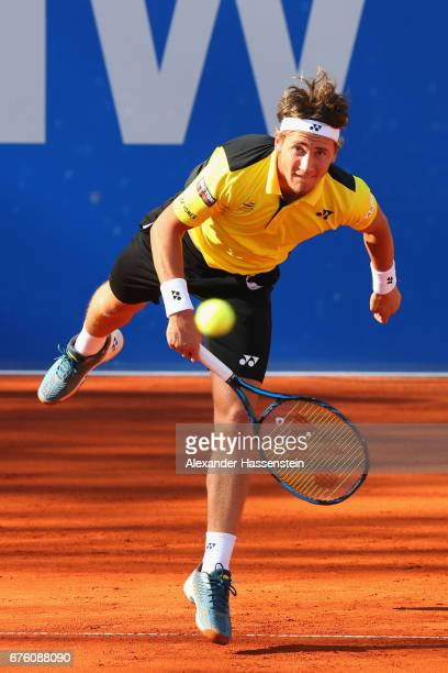 Casper Ruud of Norway plays the ball at his first round match against Philipp Kohlschreiber of Germany during the 102 BMW Open by FWU at Iphitos...