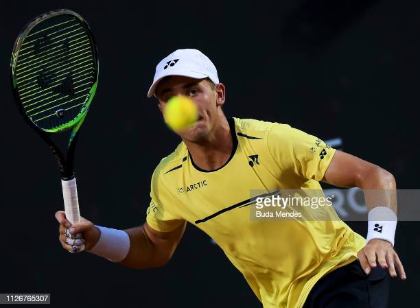 Casper Ruud of Norway returns a shot to Laslo Dere of Serbia during the ATP Rio Open 2019 at Jockey Club Brasileiro on February 22, 2019 in Rio de...