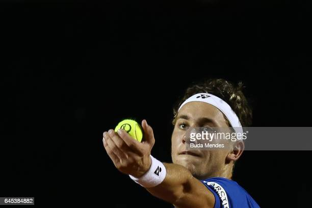 Casper Ruud of Norway returns a shot to Pablo Carreno Busta of Spain during the semifinals of the ATP Rio Open 2017 at Jockey Club Brasileiro on...