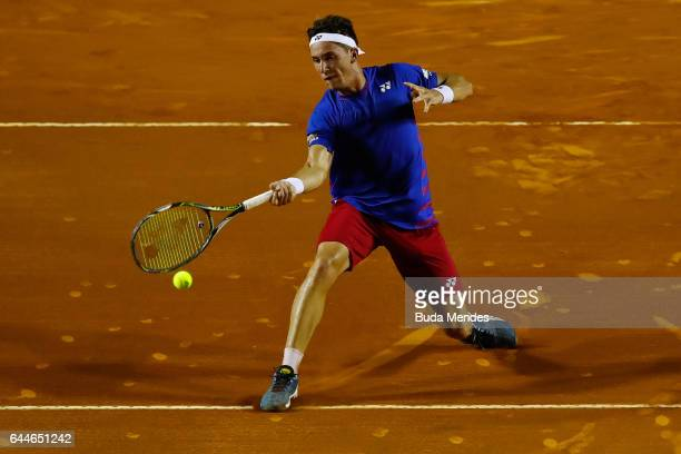 Casper Ruud of Norway returns a shot to Roberto Carballes Baena of Spain during the ATP Rio Open 2017 at Jockey Club Brasileiro on February 23 2017...