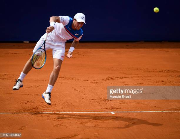 Casper Ruud of Norway serves during Men's Singles Final match against Pedro Sousa of Portugal as part of day 7 of ATP Buenos Aires Argentina Open at...