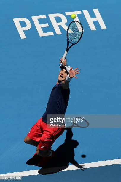 Casper Ruud of Norway serves to Fabio Fogini of Team Italy during day three of the 2020 ATP Cup Group Stage at RAC Arena on January 05, 2020 in...