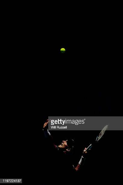 Casper Ruud of Norway serves to John Isner of USA during day one of the 2020 ATP Cup Group Stage at RAC Arena on January 03, 2020 in Perth, Australia.
