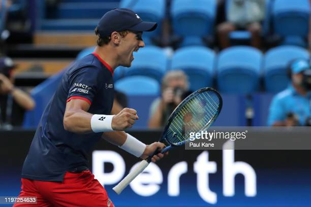 Casper Ruud of Team Norway celebrates defeating Austin Krajicek and Rajeev Ram of Team USA in the doubles and to win the tie during day one of the...