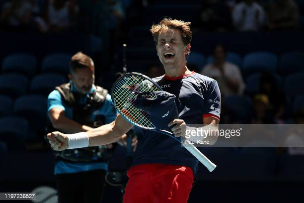 Casper Ruud of Team Norway celebrates defeating John Isner of Team USA during day one of the 2020 ATP Cup Group Stage at RAC Arena on January 03,...