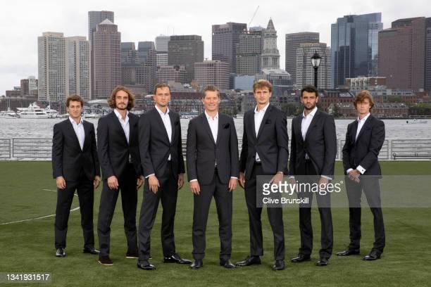 Casper Ruud, Stefanos Tsitsipas, Daniil Medvedev, Vice Captain Thomas Enqvist, Alexander Zverev, Matteo Berrettini, Andrey Rublev of Team Europe pose...