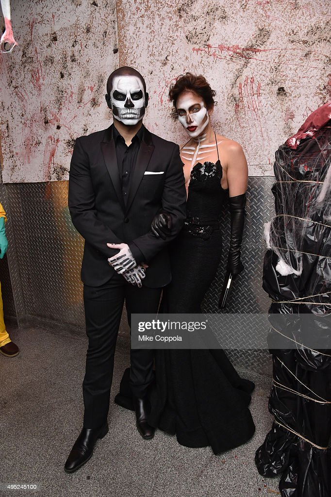 Casper Smart and Jennifer Lopez attend Heidi Klum's 16th Annual Halloween Party sponsored by GSN's Hellevator And SVEDKA Vodka At LAVO New York on October 31, 2015 in New York City.
