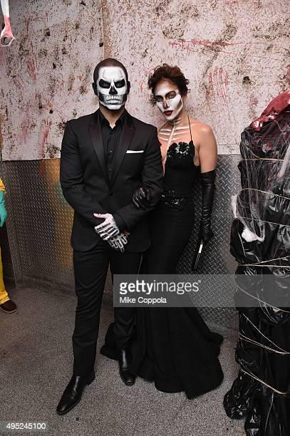 Casper Smart and Jennifer Lopez attend Heidi Klum's 16th Annual Halloween Party sponsored by GSN's Hellevator And SVEDKA Vodka At LAVO New York on...