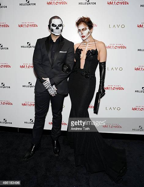 Casper Smart and Jennifer Lopez attend the Heidi Klum Halloween Party on October 31 2015 in New York City