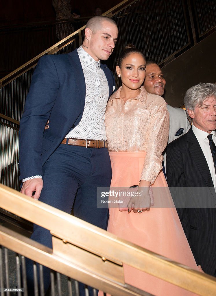 Casper Smart and Jennifer Lopez attend UN Foundation's gender equality discussion at The Four Seasons Restaurant on September 25, 2015 in New York City.