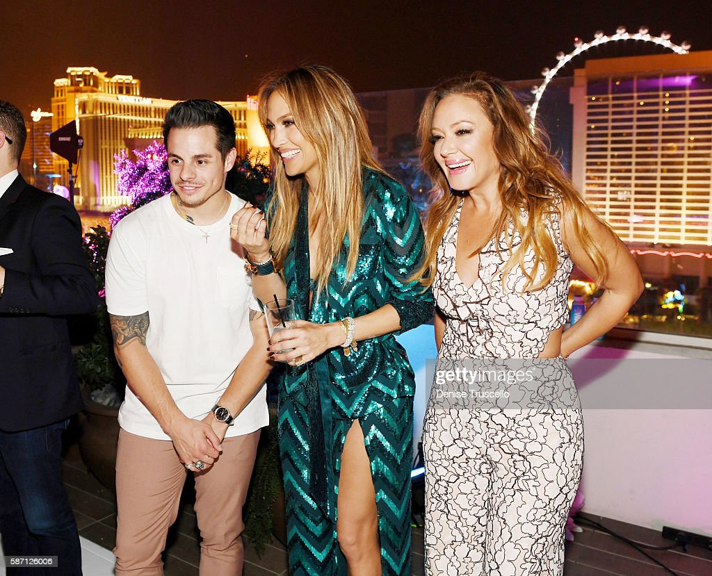 Casper Smart, Jennifer Lopez and Leah Remini attend Jennifer Lopez's birthday at Nobu Villa Atop Nobu Hotel at Caesars Palace on July 24, 2016 in Las Vegas, Nevada.