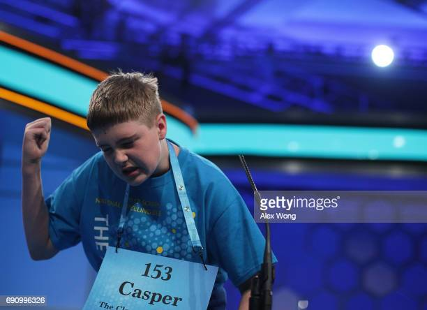 Casper Smith of Clayton North Carolina gestures after he misspelled his word during round three of 2017 Scripps National Spelling Bee at Gaylord...