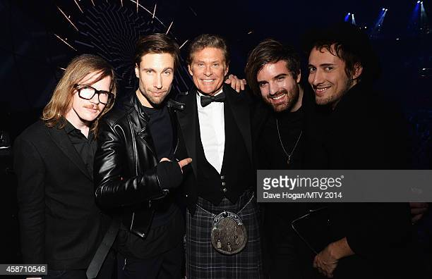 Casper Starreveld Eloi Youssef Niles Vandenberg and Jan Haker of band Kensington pose with David Hasselhoff at the glamour pit during the MTV EMA's...