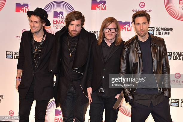 Casper Starreveld Eloi Youssef Niles Vandenberg and Jan Haker of band Kensington pose in the winners room at the MTV EMA's 2014 at The Hydro on...