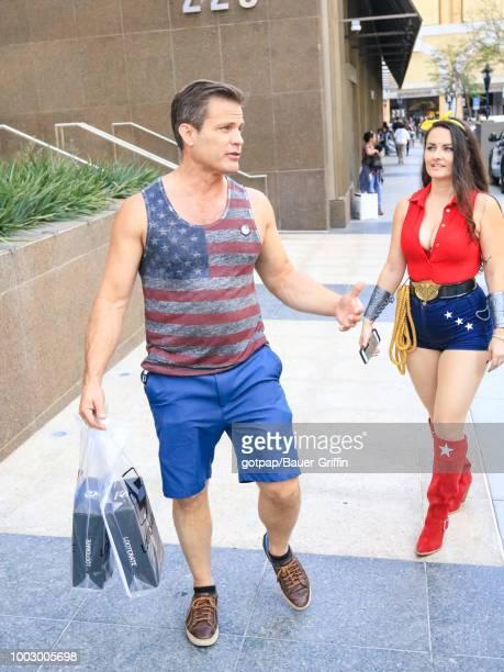 Casper Van Dien and Jennifer Wenger are seen on July 20 2018 in California