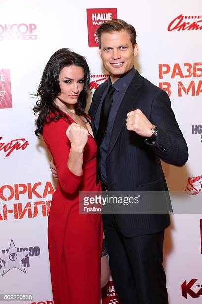 Casper Van Dien and Jennifer Wenger attend 'Showdown in Manila' premiere in October cinema hall on February 9 2016 in Moscow Russia